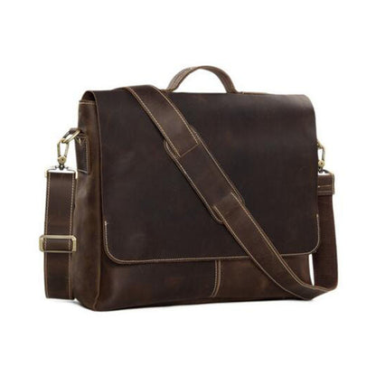 Natural Leather Flapover Men's Briefcase with Shoulder Strap 7108 - ROCKCOWLEATHERSTUDIO