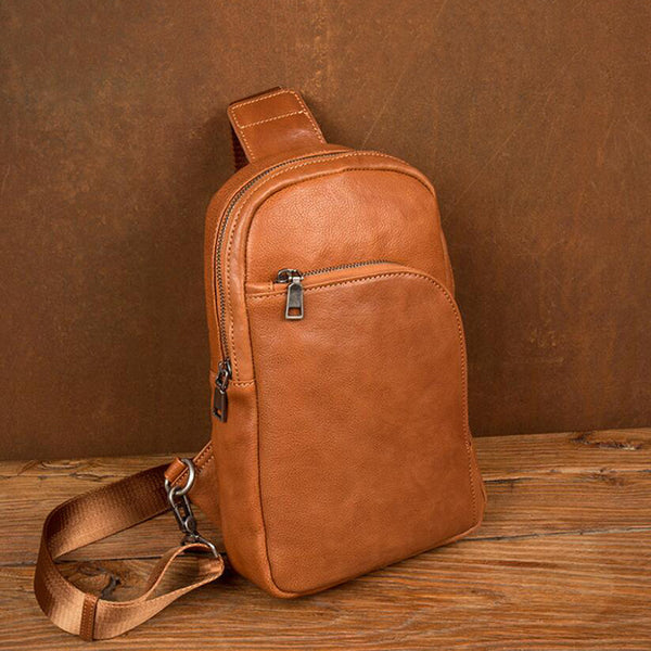 Leather Men Chest Pack Full Grain Leather Shoulder Messenger Bag Retro Chest Bag MSG7763