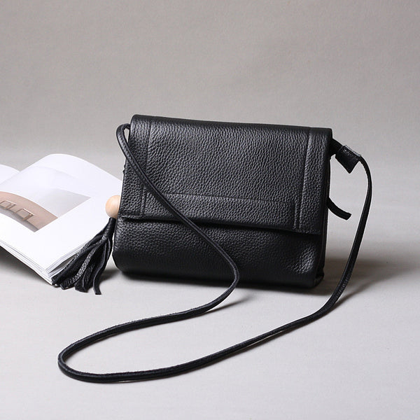 Leather Tassel Handbag, Top Grain Leather Messenger Bag, Women Shoulder Bag 9248
