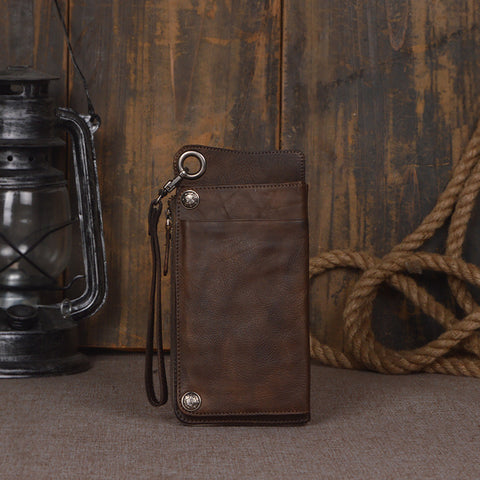 Handmade Genuine Leather Wallet Unisex Long Wallet Money Purse Card Holder 9028 - ROCKCOWLEATHERSTUDIO