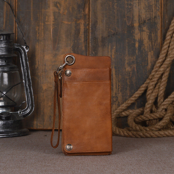 Women's Long Leather Wallet Button Clutch Purse Card Holder Case 9028 - ROCKCOWLEATHERSTUDIO