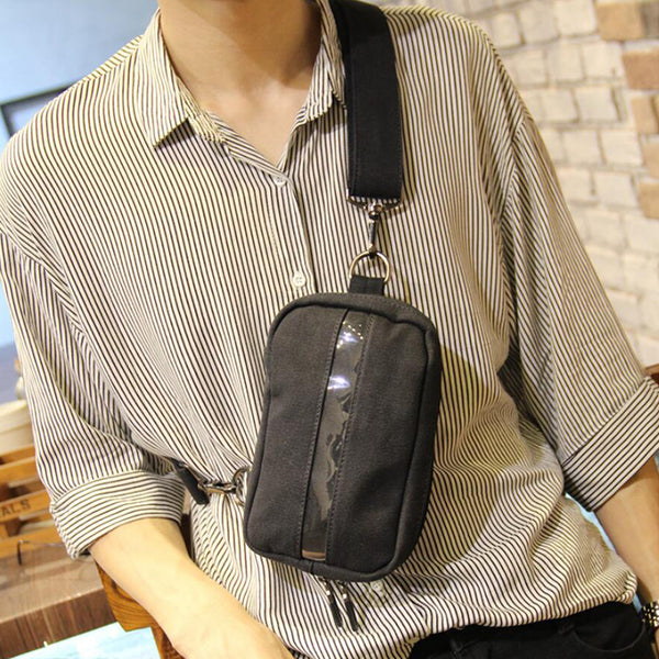 Men Canvas Chest Pack Vertical Messenger Bag Stylish Shoulder Bag Mens Chest Bag P139