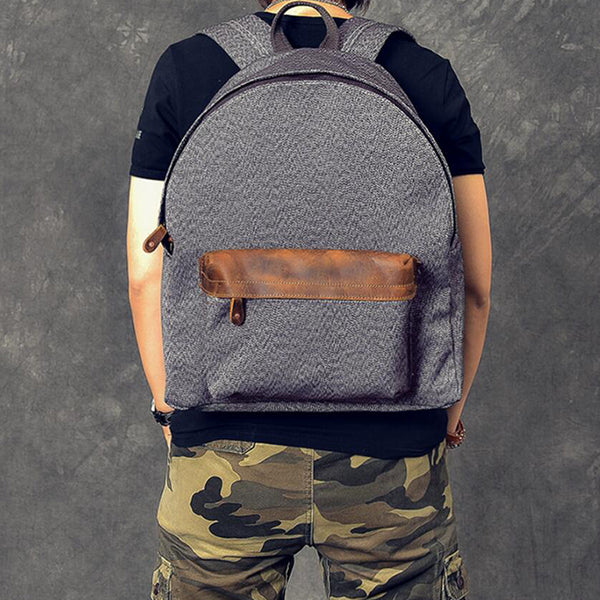 Men Canvas With Leather Backpack Durable Travel Backpack School Backpack ESS1982 - ROCKCOWLEATHERSTUDIO
