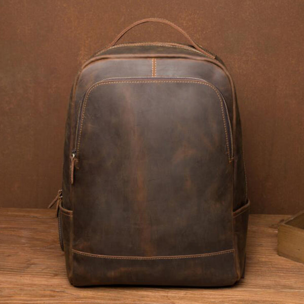Men Crazy Horse Leather Travel Backpack Durable Laptop Backpack Retro School Backpack MSG9298L