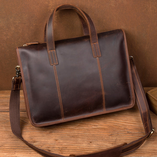 Men Vintage Briefcase Crazy Horse Leather Tote Bag Shoulder Messenger Bag Laptop Bag MSG8538 - ROCKCOWLEATHERSTUDIO