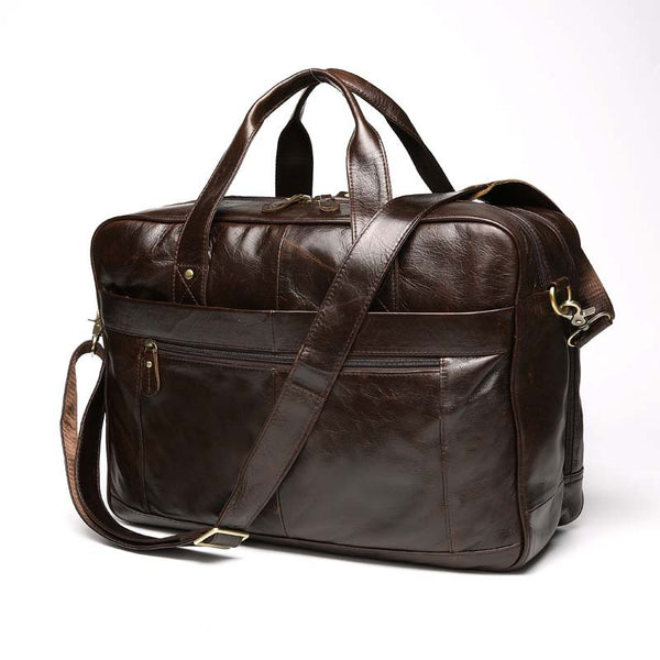 Men's Business Briefcase, Short Trip Large Capacity Travel Bag, Top Grain Leather Bag 8911 - ROCKCOWLEATHERSTUDIO
