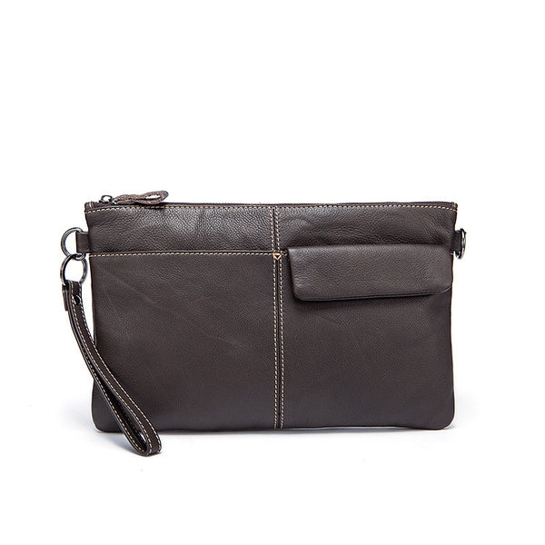 Men's Business Clutch Bag, Dual Use Vintage Messenger Bag, Leather Wallets 8891