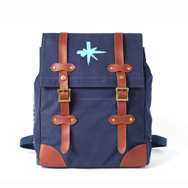 Men's Canvas Leather Hiking Travel Backpack, Rucksack School Bag TB310