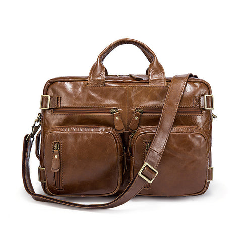 Men's Shoulder Bag, Large-Capacity Leather Handbag, Multi-Functional Backpack 341