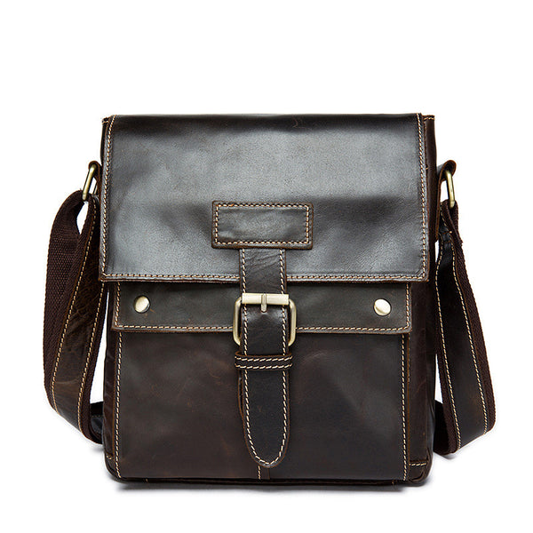 Men's Leather Bag, Vintage Shoulder Bag Top Grain Leather Vertical Messenger Bag 9040
