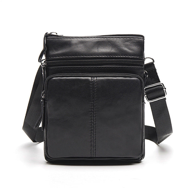 Men's Top Grain Genuine Leather Zipper Shoulder Bag, Vintage Leisure Small Messenger Bag 701