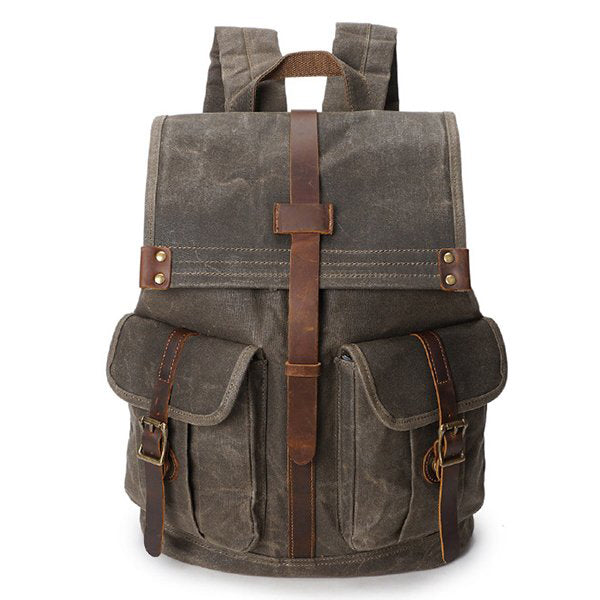VINTAGE CANVAS BACKPACK FOR MEN LEATHER RUCKSACK 15'' LAPTOP SCHOOL MILITARY KNAPSACK YD5252