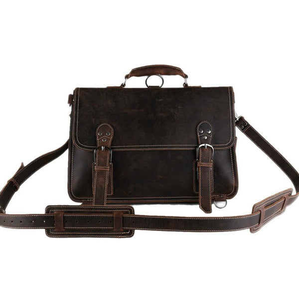 ROCKCOW Handmade Vintage Leather Briefcase/Backpack, Men Messenger Bag, Laptop Bag 7161 - ROCKCOWLEATHERSTUDIO