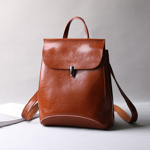NEW ARRIVAL Leather Handbags, Retro Oil Wax Shoulder Bag, Fashion Travel Backpack 9209
