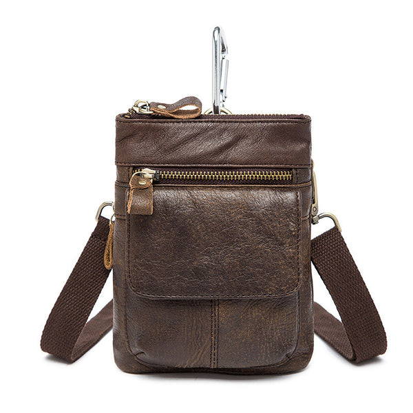 NEW ARRIVAL Men's Leisure Small Waist Bag, Top Grain Multi-Functional Cell Phone Leather Bag 8868 - ROCKCOWLEATHERSTUDIO