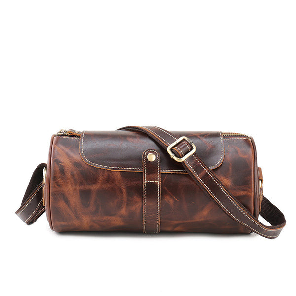 New Arrival Casual Men's Shoulder Leather Bag, Retro Style Cylindrical Messenger Bag 1180 - ROCKCOWLEATHERSTUDIO