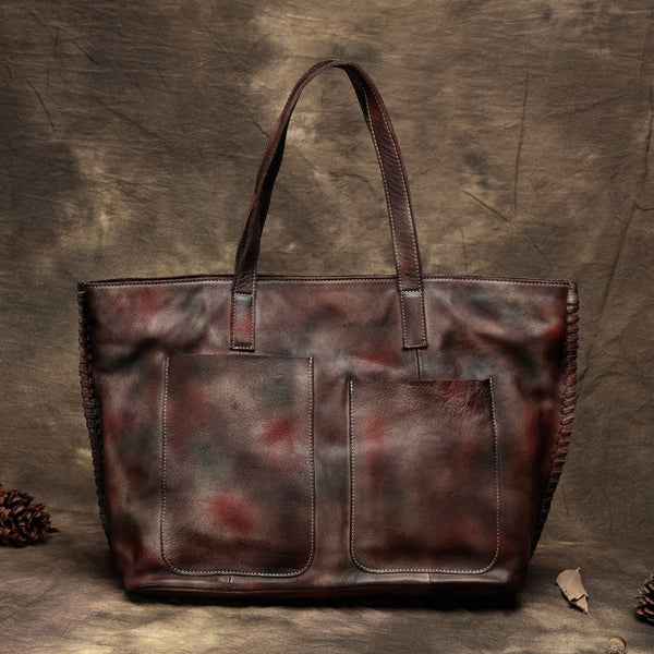 Handmade Full Grain Leather Tote Bag, Women Handbag, Shoulder Bag T2377 - ROCKCOWLEATHERSTUDIO