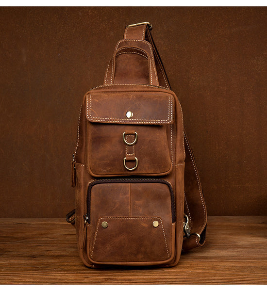Men Retro Chest Bag Full Grain Leather Chest Pack Casual Messenger Bag V160877 - ROCKCOWLEATHERSTUDIO