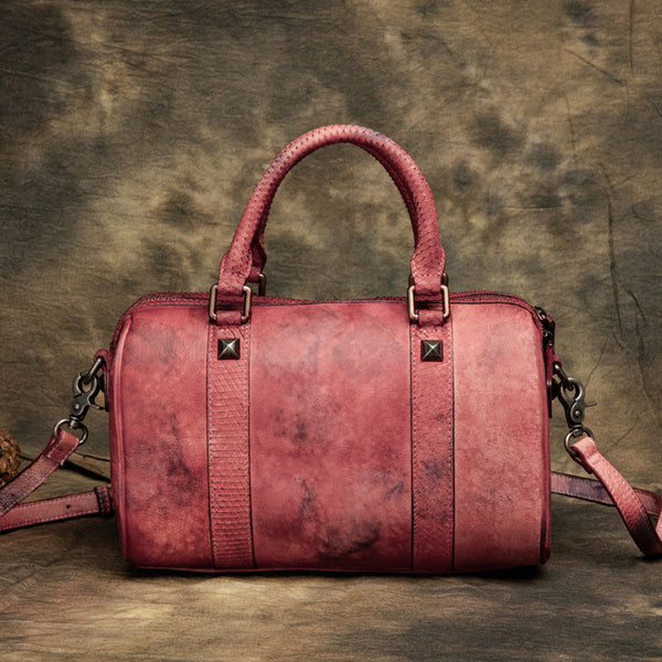 Original Retro Leather Handbag, Casual Simple Shoulder Bag, Top Grain Leather Pillow Bag T2352