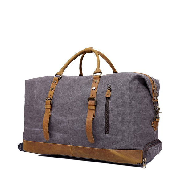 OVERSIZED CANVAS LEATHER TRIM TRAVEL DUFFEL WEEKEND BAG 50L WHEEL VERSION TROLLEY BAG YD2077-A - ROCKCOWLEATHERSTUDIO