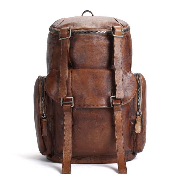 9ffc0d16a394 Vintage Handmade Full Grain Brown Leather Backpack