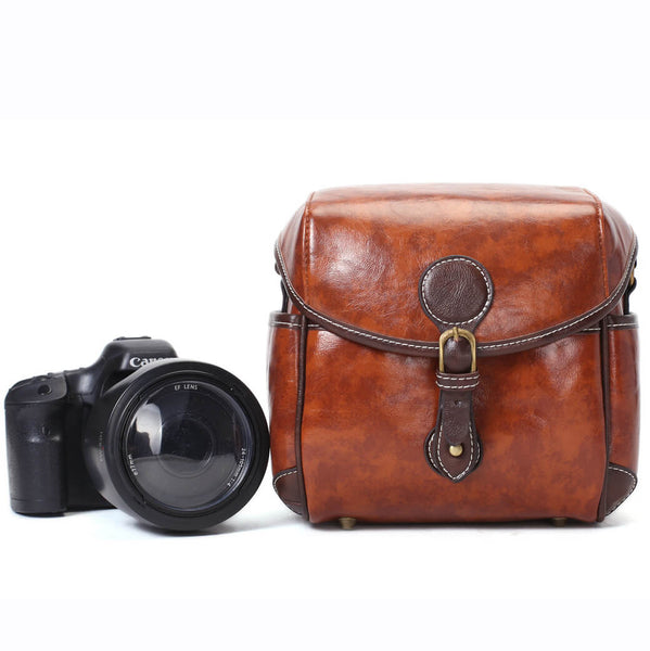 Flash Sale PU Leather DSLR Camera Purse, Vintage SLR Camera Case 288 - ROCKCOWLEATHERSTUDIO