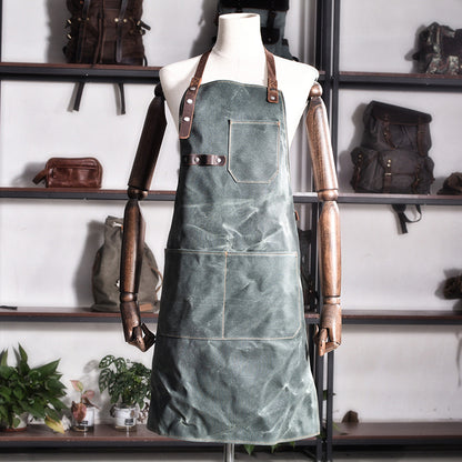 Personalized Canvas Apron Canvas With Leather Apron Work Apron Shop Apron Server Apron Custom Logo Apron MC6156 - ROCKCOWLEATHERSTUDIO