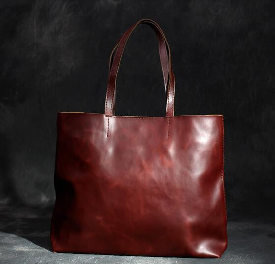 Handmade Genuine Leather Tote Bag, Shopping Bag For Women SCY01 - ROCKCOWLEATHERSTUDIO