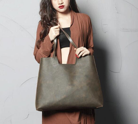 Handmade Genine Leather Tote Bag, Women Shopper Bag, Shoulder Bags SCY06 - ROCKCOWLEATHERSTUDIO