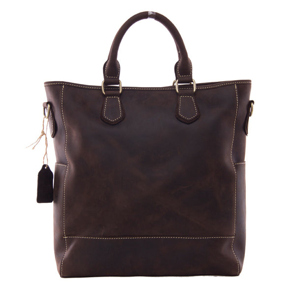 Crazy Horse Leather Messenger Bag Leather Tote Bag Mens Handbag 9097 - ROCKCOWLEATHERSTUDIO