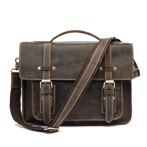 ROCKCOW Handmade Crazy Horse Shoulder Bag, Top Grain Messenger Bag, Leather Briefcase 9019
