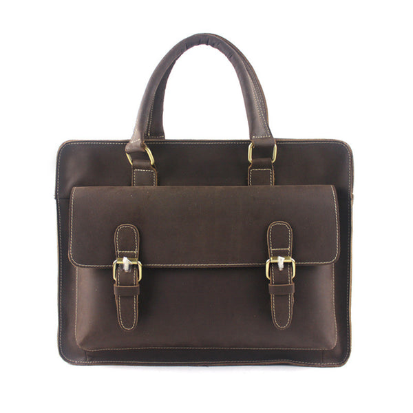 ROCKCOW Handmade Fashion Leather Briefcase, Vintage Men's Messenger Bag M1138 - ROCKCOWLEATHERSTUDIO