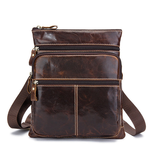 Handmade Top Grain Men's Messenger Bag, Fashion Leather Shoulder Bag M8843 - ROCKCOWLEATHERSTUDIO
