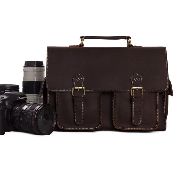 Hot Sale Genuine Leather DSLR Camera Bag 1088 - ROCKCOWLEATHERSTUDIO