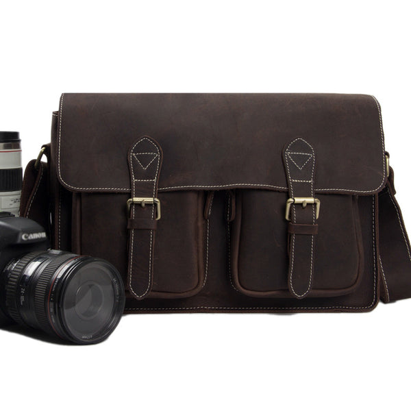 Antique Genuine Leather Camera Bag Messenger Bag Shoulder Bag DSLR Camera Bag 6915 - ROCKCOWLEATHERSTUDIO