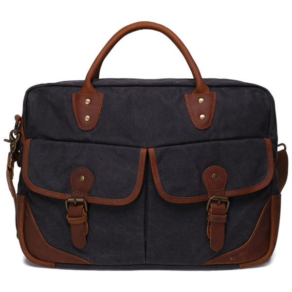 Men/Women's Vintage Canvas Leather Schoolbag Shoulder Crossbody Messenger Bag YD2169 - ROCKCOWLEATHERSTUDIO