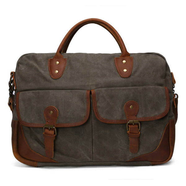 Vintage Messenger Bag, Canvas and Genuine Leather Briefcase Shoulder Laptop Bag YD2169 - ROCKCOWLEATHERSTUDIO