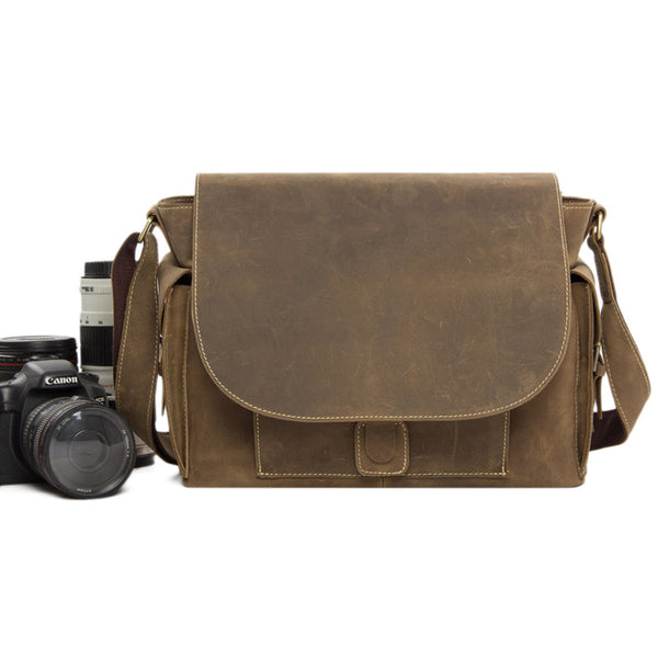 Rustic Leather Messenger Bag Crossbody Shoulder Bag with Removable Camera Inserts JW826 - ROCKCOWLEATHERSTUDIO