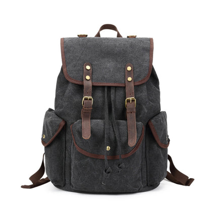Retro Style Canvas Leather Backpack Canvas Travel Rucksack Casual School Laptop Backpack FX5112