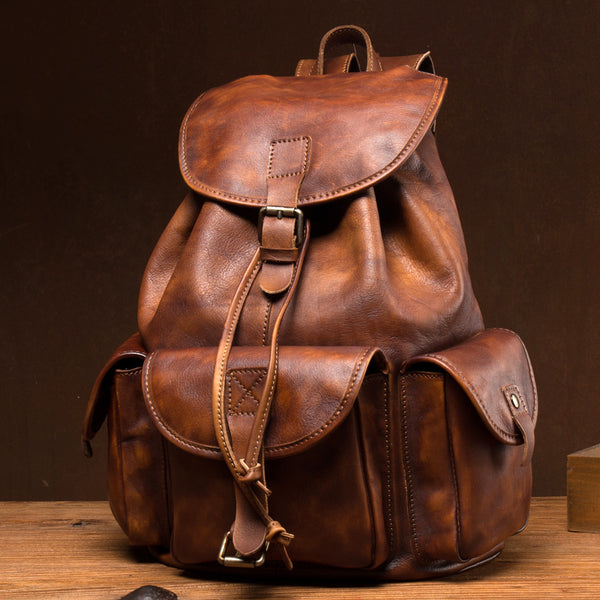 Retro Backpack Full Grain Leather Travel Backpack Handmade Laptop Backpack College Backpack MSG6131 - ROCKCOWLEATHERSTUDIO