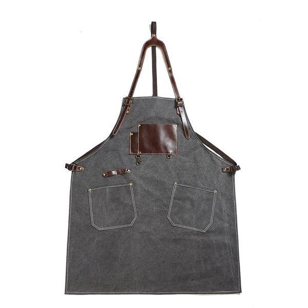 Retro Canvas Apron Shop Apron Cafe Apron Restaurant Apron Work Apron Server Apron FX888046 - ROCKCOWLEATHERSTUDIO