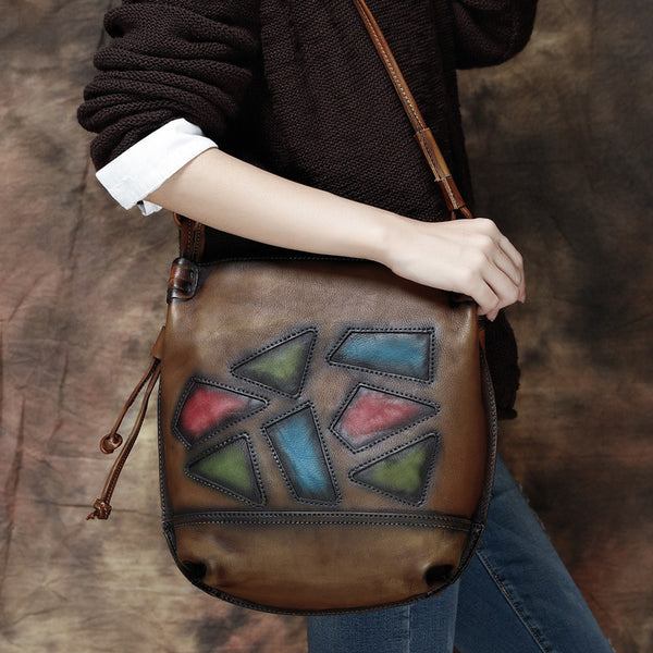 Vintage Messenger Bag, Original Leather Handmade Bag, Full Grain Leather Shoulder Bag TF8127 - ROCKCOWLEATHERSTUDIO