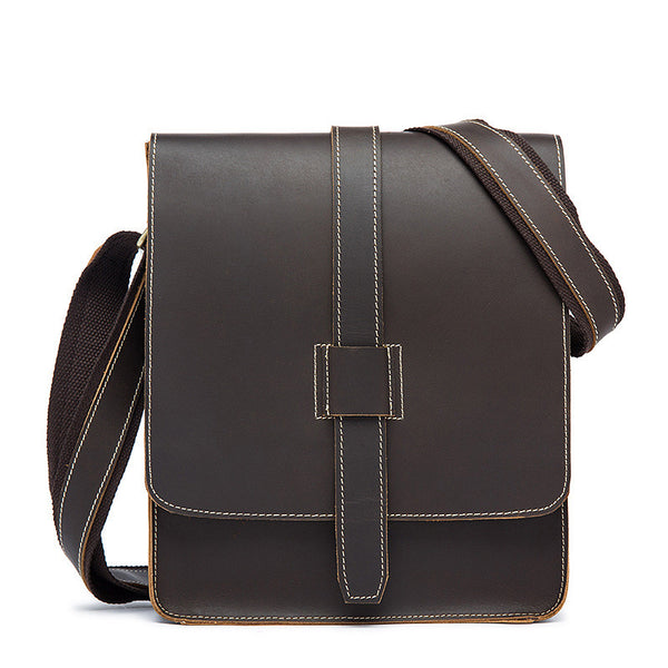 Retro Leisure Crazy Horse Leather Men's Shoulder Bag,  Top Grain Leather Messenger Bag 1045