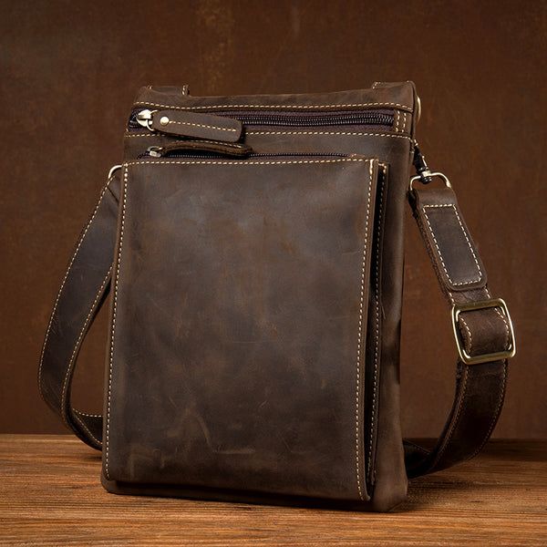 Retro Men Shoulder Bag Crazy Horse Leather Messenger Bag Handmade Satchel MSG5650 - ROCKCOWLEATHERSTUDIO
