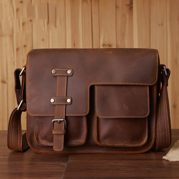 Vintage Leather Bag, Men's Leather Shoulder Bag, Full Grain Business Messenger Bag 6302 - ROCKCOWLEATHERSTUDIO