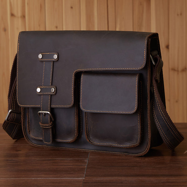 d45edbd2f0d6 Vintage Leather Bag, Men's Leather Shoulder Bag, Full Grain Business  Messenger Bag 6302