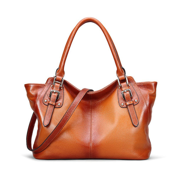 GENUINE LEATHER TOP HANDLE SATCHEL HANDBAG TOTE SHOULDER BAG PURSE CROSSBODY BAG FOR WOMEN SL9456 - ROCKCOWLEATHERSTUDIO