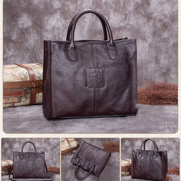 Vintage Handmade Leather Printed Satchel Bag, Shopper Handbag For Women A0218