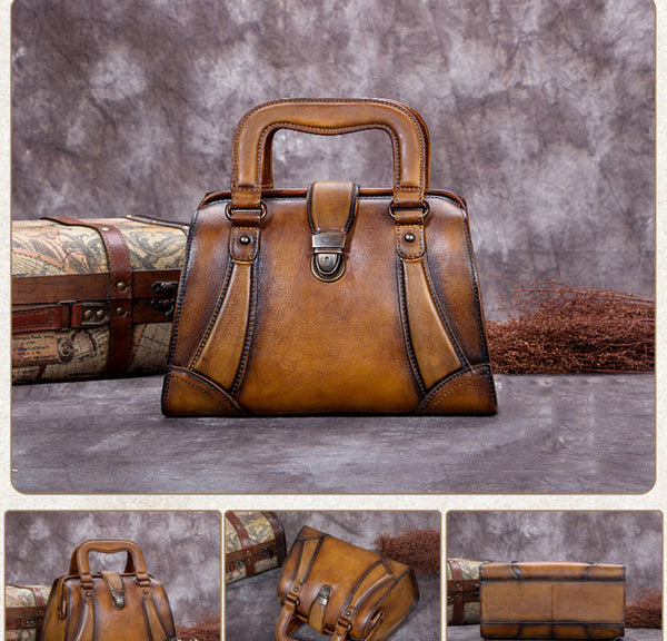 Vintage Leather Satchel Bag, Handmade Designer Handbag For Women A0202