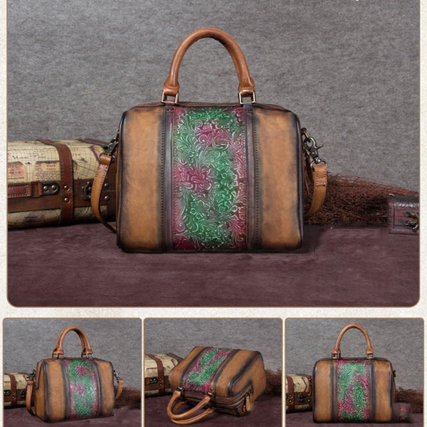 Full Grain Leather Handbags, Printed Satchel Bag A0127